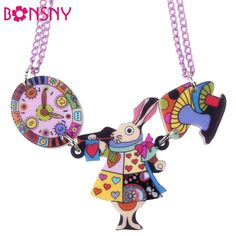 Bonsny King Mouse Rabbit Clock Necklace Acrylic Pendant  2016 News Accessories Choker Collar Animal Fashion Jewelry Girls Women