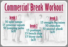 Get the Skinny on fabulous Commercial Break Workouts!!! Repin for the next time your favorite show is on!!!