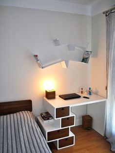 Living Room and Study Room Design. Living Room and Study Room Design. How to Decorate and Furnish A Small Study Room Study Table Designs, Study Room Design, Funky Bedroom, Bedroom Small, Trendy Bedroom, Big Bedrooms, White Bedrooms, Dream Bedroom, Living Room Decor