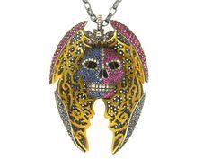 Winged skull pendant- Atelierminyon.com Gold, diamond, black diamonds, sapphires, and rubies...HEELLO!