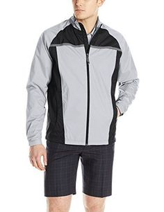 adidas Golf Mens Climastorm Essential Packable Rain Jacket Mid GreyBlack XXLarge ** Read more reviews of the product by visiting the link on the image.