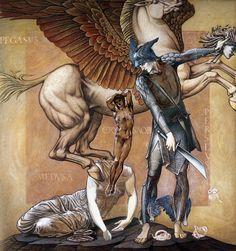 """_Pegaso e Crisaore nascono dal corpo di Medusa in un'illustrazione di Edward…quando Perseo le tagliò la testa, balzarono fuori Crisaore e il cavallo Pegaso; il nome venne al primo dalla spada aurea che impugnava al secondo dalle fonti dell'Oceano dove nacque(""""peghè"""" in greco significa """"sorgente""""):; Pegaso si staccò volando dalla terra madre di greggi e giunse fra gli immortali: abita nella dimora di Zeus, e porta il tuono e il fulmine al dio grande pensatore"""