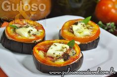 Tomatoes and Eggplant = yummyness Picnic Finger Foods, Finger Food Appetizers, Appetizer Recipes, Vegetarian Finger Food, Healthy Finger Foods, Healthy Recipes, Halloween Fingerfood, Hawiian Food, Comidas Light