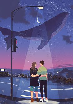 Cute Couple Drawings, Cute Couple Art, Couple Illustration, Illustration Art, Relaxing Art, Whale Art, Illustrations And Posters, Of Wallpaper, Aesthetic Art