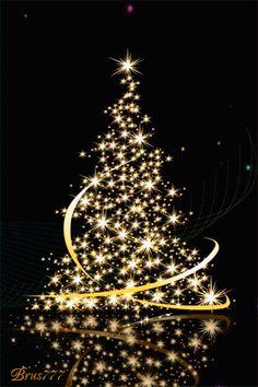 sparkling gold animated christmas tree gif