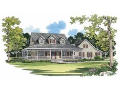 Maybe something more country-ish. Farmhouse House Plan with 2090 Square Feet and 3 Bedrooms(s) from Dream Home Source | House Plan Code DHSW45341