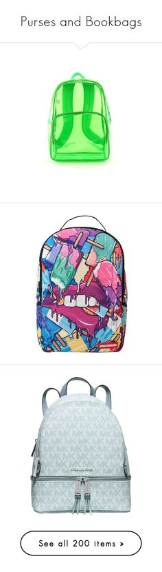 """""""Purses and Bookbags"""" by danny-baby-xoxo ❤ liked on Polyvore featuring bags, backpacks, accessories, green, purses, transparent bags, day pack backpack, neon green bag, backpack bags and neon backpacks"""
