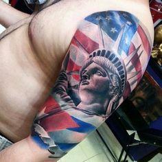 tattoos, sleeve tattoos, army tattoos, tattoos for guys, cool ta Patriotische Tattoos, Army Tattoos, Love Tattoos, Tattoos For Guys, Tatoos, Statue Of Liberty Tattoo, Studio Ghibli, Skin Candy, Nyc Tattoo