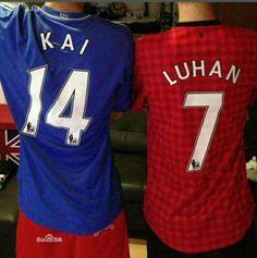 #Kai #Luhan #EXO with jersey