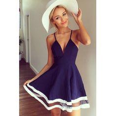 USD9.99Cheap Sexy V Neck Spaghetti Strap Sleeveless Organza Patchwork Blue A Line Mini Dress