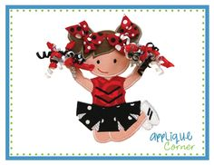 642 Standing Cheerleader with 3D Pom Poms applique design digital for embroidery machine by Applique Corner. $4.00, via Etsy.