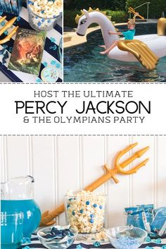 Percy Jackson and The Olympians Party. Great ideas for hosting your own Percy Jackson themed party. Festa Do Percy Jackson, Percy Jackson Crafts, Percy Jackson Birthday, Percy Jackson Memes, Percy Jackson Books, Percy Jackson Fandom, 11th Birthday, Birthday Party Themes, Ideas Para Fiestas