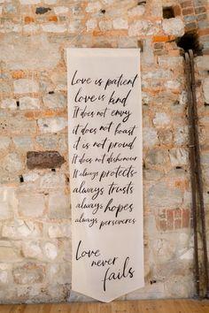 Love Never Fails Wedding Sign | By Jo Bradbury | Lulworth Castle Wedding | Classic Wedding | Pink Wedding Theme | Pink Wedding Flowers | Wedding Sign | Wedding Decor