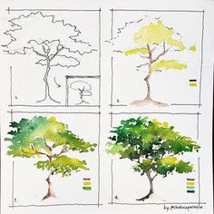 art acuarela I was sketching this tree when a thought hit me --gt; what about This simple tree is literally simple to Tree Watercolor Painting, Watercolor Painting Techniques, Watercolor Tips, Watercolour Tutorials, Watercolor Landscape Tutorial, Watercolor Artists, Simple Watercolor, Painting Trees, Watercolor Journal