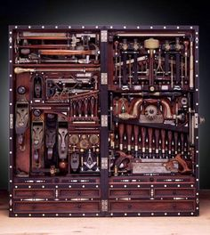 """Henry O. Studley, piano maker, built this tool chest in the 1800s. It holds 300 tools, measures 40""""x 20"""""""