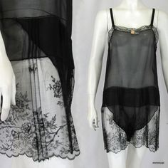 Vintage 1920s Lingerie Teddy Sheer Silk Chiffon Step-In Pleated Lace Overskirt M  http://stores.ebay.com/mmmosts-Old-time-Stuff-and-Threads