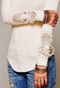 Adorable Crochet detail sleeve shirt fashion style