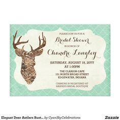 Elegant Deer Antlers Rustic Country Bridal Shower 5x7 Paper Invitation Card #deer #antlers #rustic #country #wedding #turquoise #woodland #woodsy #natural #nature