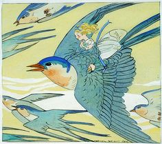 'Thumbelina' illustrated by Maginel Wright Barney. Original illustration for Thumbelina, undated, circa 1922-1966, publisher unknown. Gouache, ink, and graphite on paper. Collection of the Jane Voorhees Zimmerli Art Museum, Rutgers, The State University of New Jersey