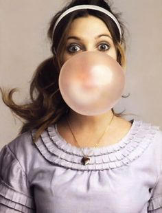 Bubble gum~ Hope it's Hubba Bubba so it won't stick on her face like the other brands.