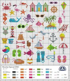 El blog de Dmc: Diagramas veraniegos de punto de cruz -- cross stitch #beach #summer