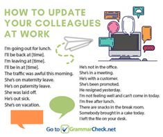 Useful Workplace Phrases: How to Give Updates English Speaking Skills, English Vocabulary, Learn English, Drinking Tea, Writing Tips, Grammar, Workplace, Communication, Infographic