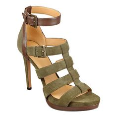 "Strappy gladiator sandal with adjustable ankle strap closure on a 4 1/4"" heel and 1/2"" platform."