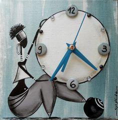 Rastal'heure sur toile américaine 20x20 avec mécanisme d'horloge à quartz (silencieux)