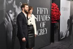"Dakota Johnson and Jamie Dornan Photos - Actors Jamie Dornan (L) and Dakota Johnson attend the ""Fifty Shades Of Grey"" New York…"