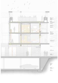Residencia tercera edad, Montcada i Rixac. TFG ESARQ arquitectura, sección. rodrigo6489