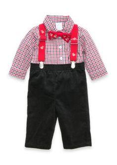 Nursery Rhyme Boys Infant Holiday Suspender Set - Assorted - 6 - 9 Months