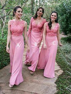Dusty Rose Lace Jersey Mismatched Sheath Bridesmaid Dresses, AB4015