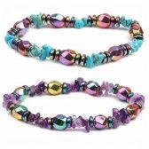 Natural Stone Fashion Geometric bracelet (amethyst) NHYL0215-amethyst