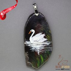 HAND PAINTED SWAN BIRD AGATE SLICE GEMSTONE DIY NECKLACE PENDANT ZZ60 00306