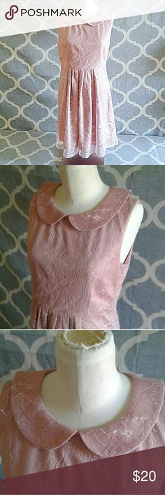 Minuet pink lace baby doll collar dress medium Adorable Minuet pink lace baby doll dress with collar. Very flattering cut and does not sit weirdly on your body. Has a dusty/muted rose sort of color.  Slightly open / slit back with buttons at the neck.  So cute!! Minuet Dresses Mini