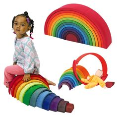 Amazon.com: Grimm's Large 12-Piece Rainbow Stacker - Wooden Nesting Puzzle/Creative Building Blocks: Toys & Games
