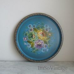 vintage hand painted floral tole tray by ImSoVintage on Etsy, $22.00