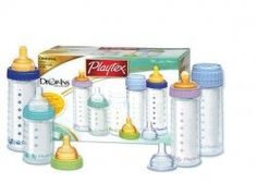 Playtex Bottles - My fave, hands down! I love how you can push out the extra air from the bottle to help reduce gas in your little one's tummy. Newborn Boy Clothes, Baby Boy Newborn, Baby Kids, Baby Doll Diaper Bag, Baby Dolls, Bottles For Breastfed Babies, Silicone Reborn Babies, Preparing For Baby, Baby Must Haves