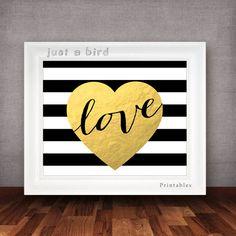 Modern valentine printable, Black & white stripes printable, Valentine print -gold nursery wall art - Faux Gold Foil - INSTANT DOWNLOAD