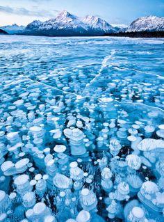 Frozen Lakes Patterns A l'occasion de la chute des températures, nous avons réuni pour vous les plus belles photographies de lacs et d'étangs gelés aux quatre coins du monde : en Russie, Suisse, Japon ou encore au Canada, leurs surfaces glacées recèlent de motifs esthétiques et graphiques. Notre sélection est disponible dans la galerie. Frozen Lakes Patterns – Fubiz™  Bubbles Under The Ice of Abraham Lake by Emmanuel Coupe