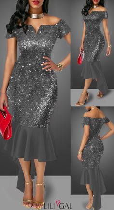 49 sequin embellished dark grey off the shoulder sheath dress liligal dresses Lace Dress Styles, African Lace Dresses, Latest African Fashion Dresses, African Print Fashion, Elegant Dresses, Sexy Dresses, Beautiful Dresses, Evening Dresses, Casual Dresses