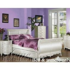 Full Size Sleigh Bed with Twin Trundle White Finish- for Maia