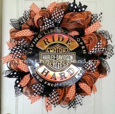 Harley Davidson Door Wreath by on Etsy Deco Mesh Crafts, Wreath Crafts, Diy Wreath, Wreath Ideas, Diy Crafts, Mesh Ribbon Wreaths, Deco Mesh Wreaths, Burlap Wreaths, Harley Davidson Art