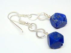 Handcrafted Raw Afghan Lapis Lazuli nugget drop earrings, dangle earrings, blue earrings, gemstone earrings, silver earrings, Lapis Lazuli