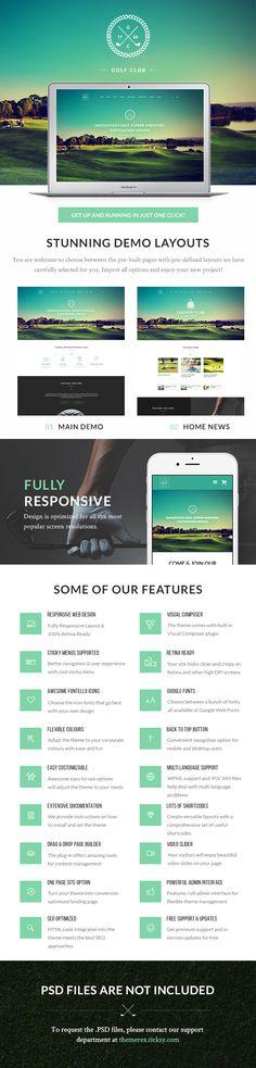 Golf WordPress Theme | Golf Club WordPress Theme | Pinterest ...