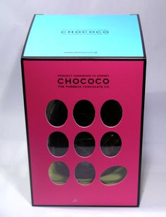 Colourful and simple yet bold Easter egg packaging by Chococo. Like the bright colours and interesting shaped windows. http://www.chococo.co.uk/index.php