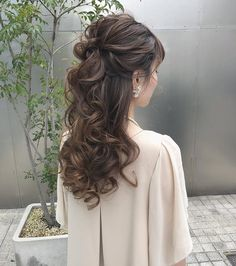 Half Updo Hairstyles, Evening Hairstyles, Bride Hairstyles, Hair Upstyles, Hair Arrange, Hair Setting, Wedding Hair Down, Hair Dos, Prom Hair