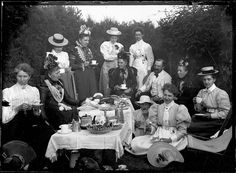 Victorian Tea party, Ipswitch, cira 1900. Photo from a glass plate negative.