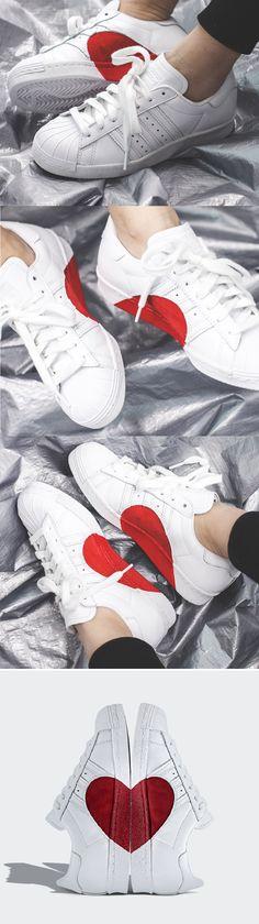 best website cd678 54750 Adidas Superstar 80s Half Heart ValentinDay 2018 Adidas Superstar  Trainers,