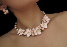 Floral Necklace with flowers Original apple blossom by morecolors